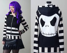 stripe Nightmare Before Christmas Jack Skellington hoodie - custom smarmyclothes gothic punk on Etsy, $125.00
