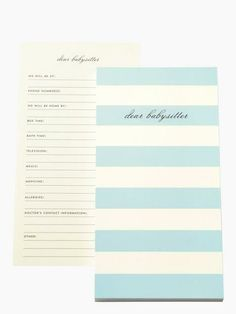 essential for a night on the town (for mom and dad) — the dear babysitter notepad by kate spade new york (june 2014)