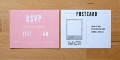 rsvp by polaroid postcard.  let your guests get creative.