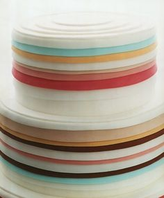modern cake with artistic swirl of stripes