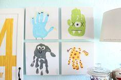 Kids handprint art from lollyjane.com