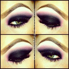 Eye make up pink purple black smokey