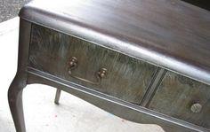 Z I N C Desk / Vanity in Silver Metallic Vintage by poppycottage