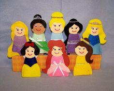 8 Princesses Hand Crafted  Felt Finger Puppets