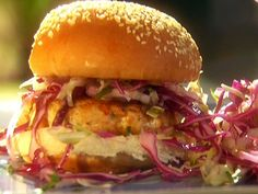 Salmon Burgers with Soy Mayo and Simple Sesame Slaw from FoodNetwork.com
