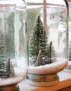Waterless snow globes. craft, christmas decorations, snow globes, waterless snow, scene, brushes, bottles, mason jars, christmas trees