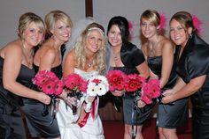 #bridesmaids #hot pink #bride #bouquet #daisy #gerber daisies #black #girls