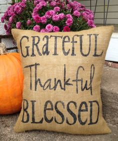 Burlap Pillow 'Grateful Thankful Blessed' by TwoPeachesDesign, $32.00