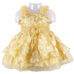 Veetex Baby Frock is very stylish in look it has small roses like design on the shoulder which gives very attractive look to the frock and also has leaves design on the frock and also it has many layer frill in frock.