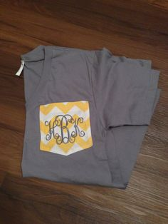 Monogrammed FABRIC Pocket Tee CHEVRON fabric by SimplySouthern3, $26.00...CUTIEEE!!