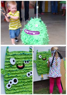 Monster- pin the eyes on the monster (made of crepe paper)