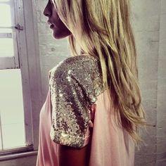 sequin shoulder, sleev, shirt, sequin tee