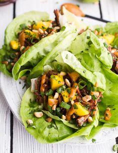 Crockpot Curried Thai Short Rib Lettuce Wraps with Peanut Sauce + Mango Salsa. -