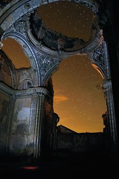 Starry Ruins, Belchite, Spain. The ruins of the church destroyed during the civil war.