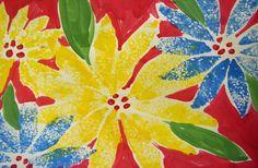 Sponge Printmaking Poinsettia Art Lesson from Deep Space Sparkle