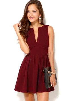 Deep Cut Sleeveless Mini Dress in Oxblood. PS all the dresses on this site are awesome and not TOO expensive! holiday dresses, oxblood fashion, holiday party dresses, deep red dress, cut sleeveless, mini dresses, kentucky derby, deep cut, mini dress outfit