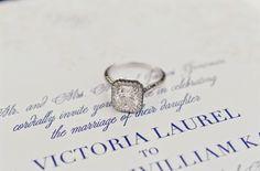 cushion cut diamond in a square halo platinum setting