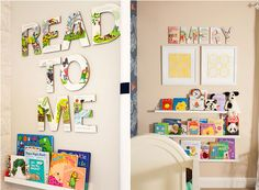 Hang shelves approx 16 inches from the floor + other tips and tricks for creating a library wall in your child's room! idea, baby boys, book pages, nurseri, babi, children books, letters, kid room, old books