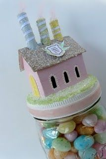 Tutorial for making a putz house on a jar that can be filled with treats.