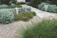 gabions, gravel and concrete