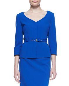 T86EE Albert Nipon 3/4-Sleeve Skirt Suit