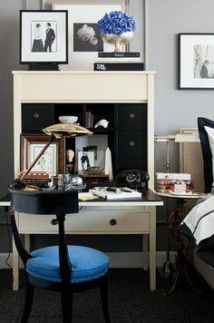 interior design, beauti design, vignett, writing desk, bedroom office, bedrooms, bakers, white furniture, workspac