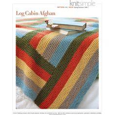 Log Cabin Afghan from vogue knitting quilt, color, log cabins, cabin afghan