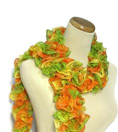 Hand Knit Ruffled Scarf  Green Orange Yellow by ArlenesBoutique, $25.00