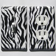 Black White Zebra Animal Print Light Switch Plate by ModernSwitch, $13.00 @ Etsy. Perfect for my bathroom!