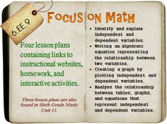Four lesson plans that cover identifying independent and dependent variables, writing an algebraic equation representing the relationship between two variables, plotting the independent and dependent variable, and analyzing independent and dependent variables through tables, graphs, and equations.  Contains links to instructional websites and videos, manipulatives and/or games, as well as free homework. Ready to teach from at a moment's notice! 6.EE.9
