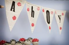 Ahoy banner for a pirate party decoration.