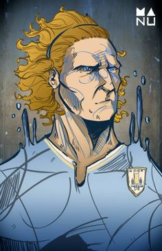 Fifa World Cup 2014 Amazing Football Player Illustrations - Diego Forlan