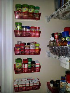Easy spice organization. Trays from Dollar Tree