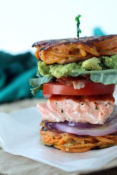Guest Post by @Ali Velez Maffucci: #paleo Salmon BLT & Avocado in a Sweet Potato Noodle Bun
