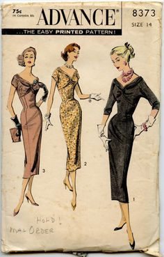 1950s Dress Pattern Advance 8373 Vintage Dress by GreyDogVintage, $30.00