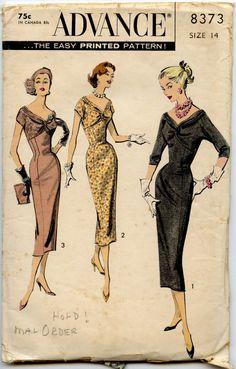 1950s Dress Pattern Advance 8373 Vintage Dress