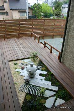 Japanese garden ideas on pinterest japanese gardens for Japanese decking garden