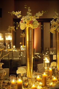 Chic Elegant Gold and White Centerpiece