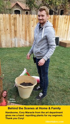BEHIND THE SCENES! Check out Cory Maracle from the Home & Family art department helping me to pot some plants behind the scenes.  Cory is always a great help and he's so handsome too! Thank you. #homeandfamilytv