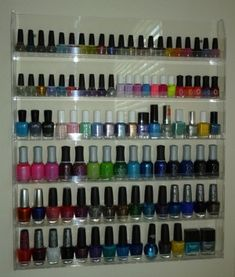 If you've got a large nail polish collection you're proud to show off keep it organize and easily displayed with a nail polish rack for your wall {featured on Home Storage Solutions 101}