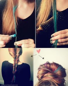 Add color to hair with chalk - I want to try this.