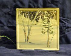Winter Scene  Glass Block Light by bestemancreations on Etsy,