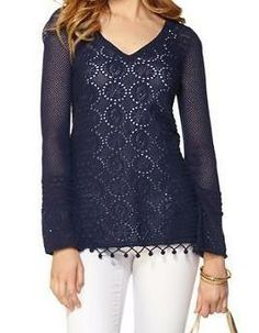 Lilly Pulitzer Acadia V-Neck Tunic Sweater in True Navy