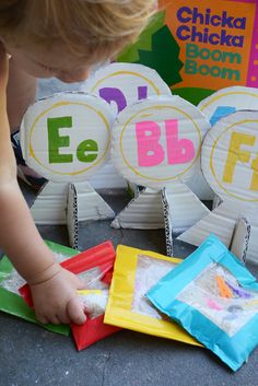 DIY Bean Bags! Chicka Chicka Boom Boom Alphabet Bean Bag Toss - Meri Cherry