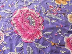 1920's Large Piano Shawl Silk Embroidered Embroidery Antique Canton Art Deco Vintage Throw European Textile Blue Flapper