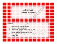 Adjectives I Have Who Has from PamBlack on TeachersNotebook.com -  (6 pages)  - I Have Who Has game to review adjectives.