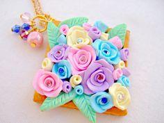 Fimo Flower Necklace Polymer Clay Jewelry by GlitteramaCrafts