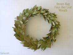bay leaf lookalike wreath made with brown bags