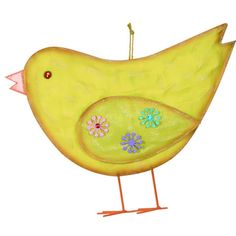 """Chick Wall Hanging Easter Decoration Size: 22"""" x 18"""" Painted metal screen wall hanging. Arriving this week!  #trendytree #easter"""
