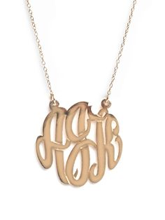 """Add some vintage charm to any outfit with a monogram pendant - perfect alone or for layering, this is a piece you will reach for again and again. Our customizable pendants let you select charm size, chain length, and metal color, so you can be sure this piece will be made just for you.  Length: 16"""" or 18"""", Pendant: 7/8""""  Available in: 14kt Gold-Plated Sterling Silver or Sterling Silver"""